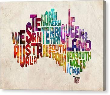 Australia Typographic Text Map Canvas Print by Michael Tompsett