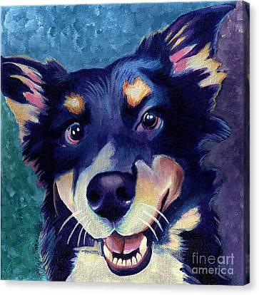 Australian Shepard Dog Portrait Canvas Print by Robyn Saunders