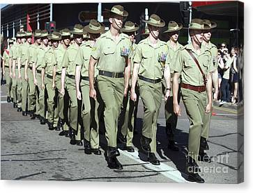 Australian Soldiers March In An Anzac Canvas Print by Stocktrek Images