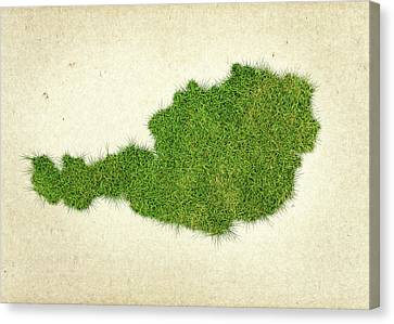 Austria Grass Map Canvas Print by Aged Pixel