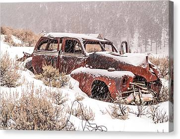 Auto In Snowstorm Canvas Print by Sue Smith