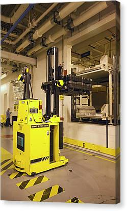 Automated Forklift At A Car Factory Canvas Print by Jim West