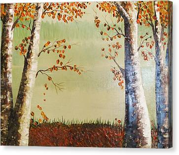 Autum On The Ema River  2 Canvas Print by Misuk Jenkins