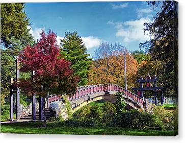 Autumn At Bradley Park Japanese Bridge 03 Canvas Print by Thomas Woolworth