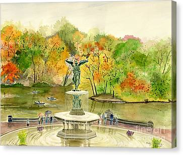 Autumn At Central Park Ny Canvas Print by Melly Terpening