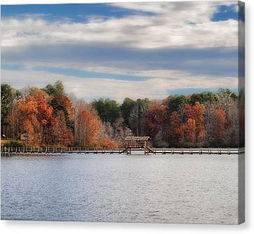 Autumn At Chickasaw - Lake Scene Canvas Print by Jai Johnson