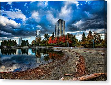 Autumn At The Lagoon Canvas Print by Mike Thompson