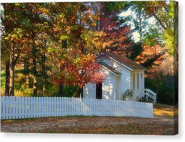 Autumn At The One Room Shool House Canvas Print by Thomas Woolworth