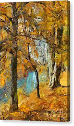Autumn At The River Canvas Print by Dragica  Micki Fortuna