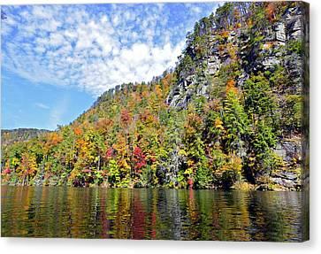 Autumn Colors On A Lake Canvas Print by Susan Leggett