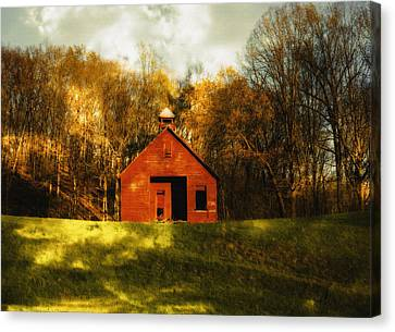 Autumn Day On School House Hill Canvas Print by Denise Beverly