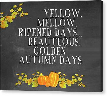 Autumn Days Canvas Print by Amy Cummings