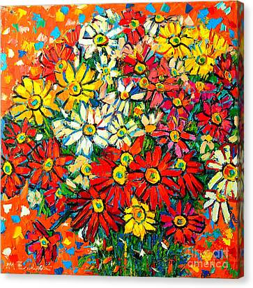Autumn Flowers Colorful Daisies  Canvas Print by Ana Maria Edulescu