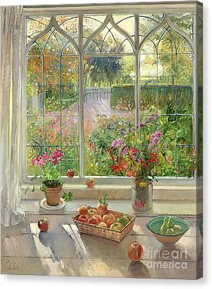 Autumn Fruit And Flowers Canvas Print by Timothy  Easton