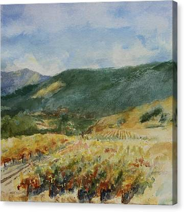 Harvest Time In Napa Valley Canvas Print by Maria Hunt