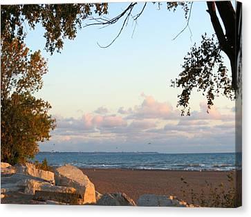 Autumn Lakeside Canvas Print by Kay Novy