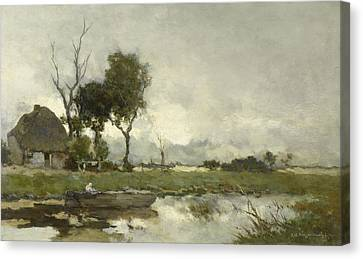 Autumn Landscape, Johan Hendrik Weissenbruch Canvas Print by Litz Collection