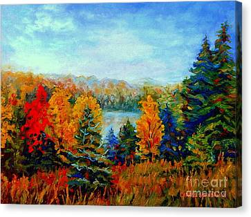 Autumn Landscape Quebec Red Maples And Blue Spruce Trees Canvas Print by Carole Spandau
