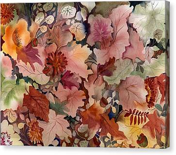 Autumn Leaves And Flowers Canvas Print by Neela Pushparaj