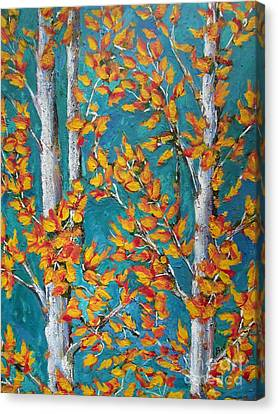 Autumn-leaves- Aspen Trees Canvas Print by Beverly Livingstone