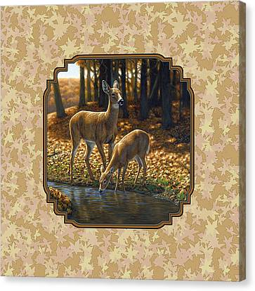 Autumn Leaves Doe And Fawn Pillow And Duvet Cover Canvas Print by Crista Forest