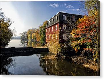 Autumn Morning At The Kingston Mill Canvas Print by George Oze