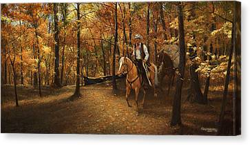 Autumn On Greensfelder Trail Canvas Print by Don  Langeneckert