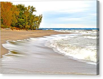 Autumn On The Beach Canvas Print by Frozen in Time Fine Art Photography