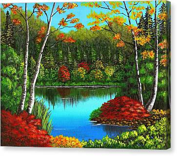 Autumn On The Water Canvas Print by Cyndi Kingsley