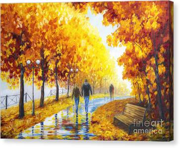 Autumn Parkway Canvas Print by Veikko Suikkanen