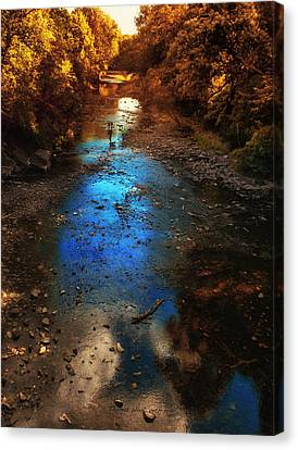 Autumn Reflections On The Tributary Canvas Print by Thomas Woolworth