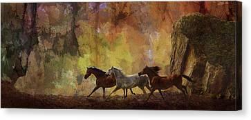 Autumn Run Canvas Print by Melinda Hughes-Berland