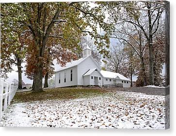 Autumn Snow And Country Church Canvas Print by Thomas R Fletcher