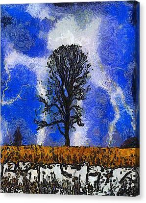 Autumn Storm On The Farm Canvas Print by Dan Sproul