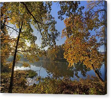 Autumn Sunrise On Lake Sequoyah Arkansas Canvas Print by Tim Fitzharris
