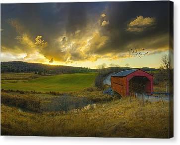 Autumn Sunset Over Meech Creek And Canvas Print by Richard Desmarais