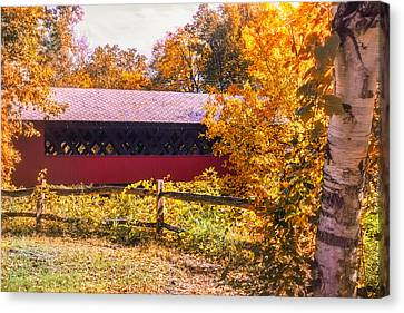 Autumn Walk To The Covered Bridge Canvas Print by Jeff Folger