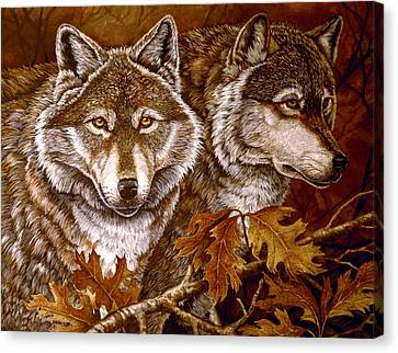 Autumn Wolves Canvas Print by Sandy Williams