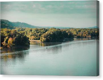 Autumn's Knocking On The Door - River Scene Canvas Print by Jai Johnson