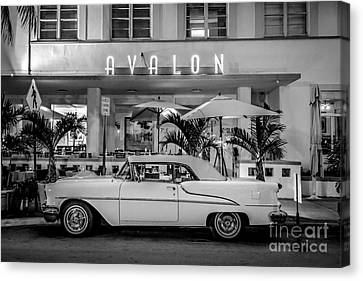 Avalon Hotel And Oldsmobile 88 - South Beach - Miami - Black And White Canvas Print by Ian Monk