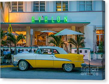 Avalon Hotel And Oldsmobile 88 - South Beach - Miami Canvas Print by Ian Monk