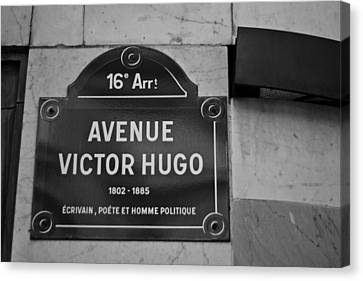 Avenue Victor Hugo Paris Road Sign Canvas Print by Georgia Fowler