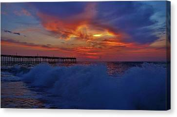 Avon Pier Morning Sunrise Sky 7/21 Canvas Print by Mark Lemmon