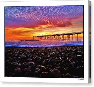 Avon Pier Shells Sunrise Canvas Print by Mark Lemmon