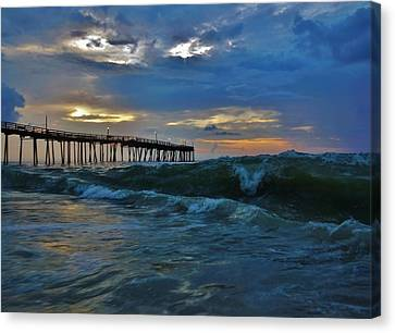 Avon Pier Sunrise Storm Wave 6/12/2014 Canvas Print by Mark Lemmon