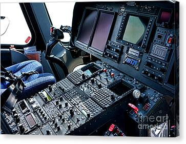 Aw139 Cockpit Canvas Print by Olivier Le Queinec