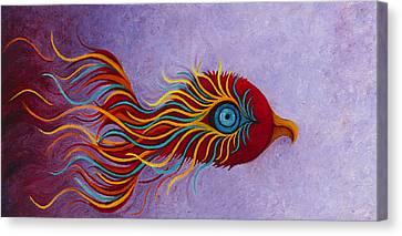 Mythical Phoenix Awakening Canvas Print by Karen Balon
