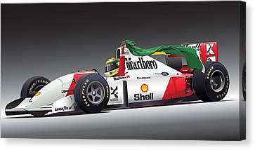 Ayrton Senna Da Silva Art Canvas Print by Alain Jamar
