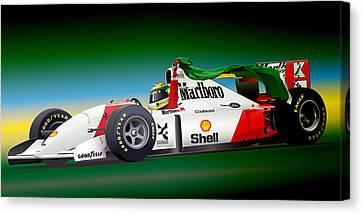 Ayrton Senna Art Canvas Print by Alain Jamar