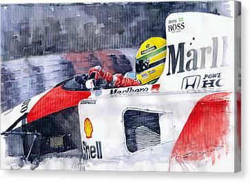Ayrton Senna Mclaren 1991 Hungarian Gp Canvas Print by Yuriy Shevchuk